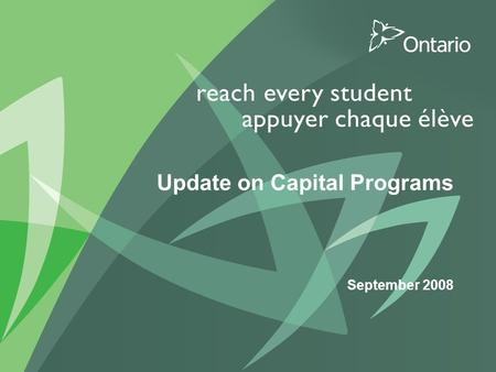 0 PUT TITLE HERE Update on Capital Programs September 2008.