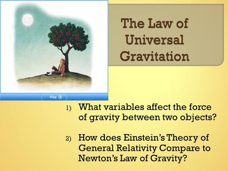 1) What variables affect the force of gravity between two objects? 2) How does Einstein's Theory of General Relativity Compare to Newton's Law of Gravity?