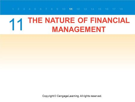 THE NATURE OF FINANCIAL MANAGEMENT Copyright © Cengage Learning. All rights reserved. 11.