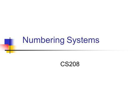 Numbering Systems CS208. Types Of Numbers Natural Numbers The number 0 and any number obtained by repeatedly adding a count of 1 to 0 Negative Numbers.