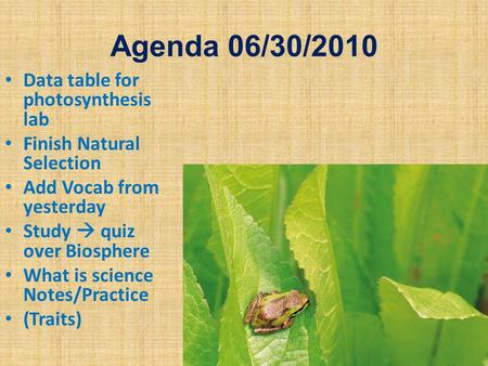 Agenda 06/30/2010 Data table for photosynthesis lab Finish Natural Selection Add Vocab from yesterday Study  quiz over Biosphere What is science Notes/Practice.