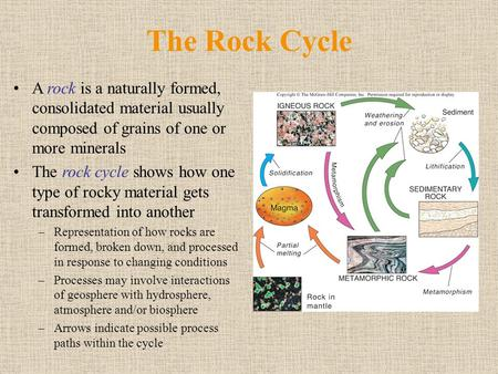 The Rock Cycle A rock is a naturally formed, consolidated material usually composed of grains of one or more minerals The rock cycle shows how one type.