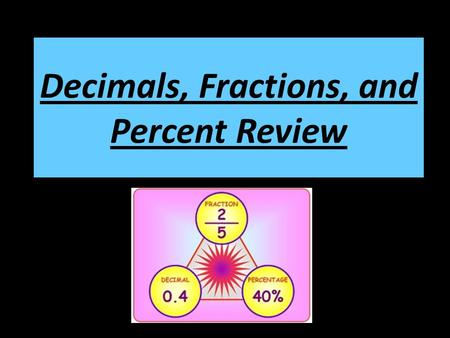 Decimals, Fractions, and Percent Review. Converting Fractions to Decimals To convert a fraction to a decimal, divide the numerator by the denominator.