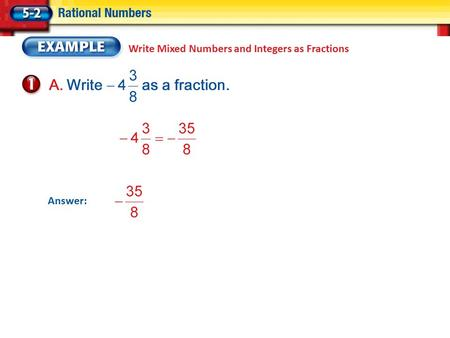 Write Mixed Numbers and Integers as Fractions Answer: