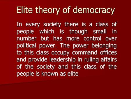 Elite theory of democracy