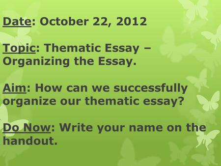 Thematic essay enlightenment
