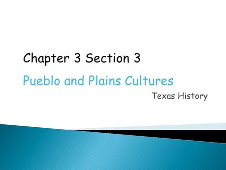 Texas History Chapter 3 Section 3 Pueblo and Plains Cultures.