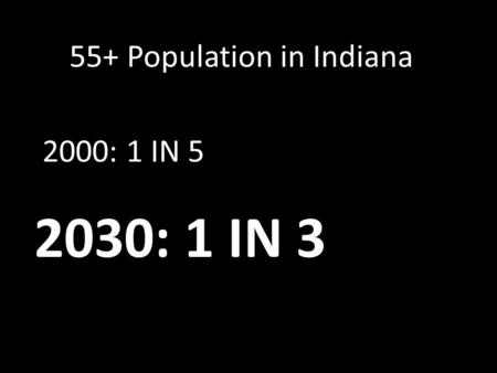 2030: 1 IN 3 2000: 1 IN 5 55+ Population in Indiana.