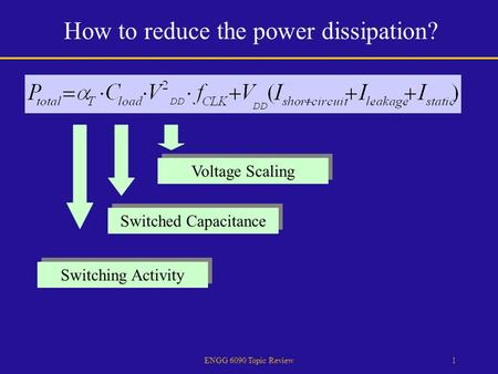 ENGG 6090 Topic Review1 How to reduce the power dissipation? Switching Activity Switched Capacitance Voltage Scaling.