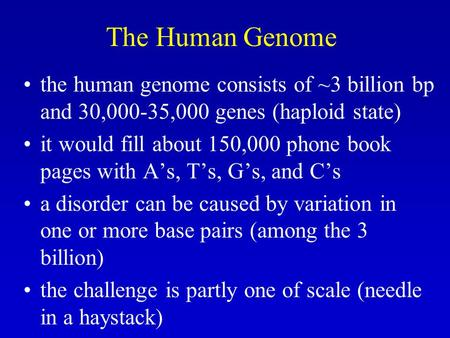 The Human Genome the human genome consists of ~3 billion bp and 30,000-35,000 genes (haploid state) it would fill about 150,000 phone book pages with A's,