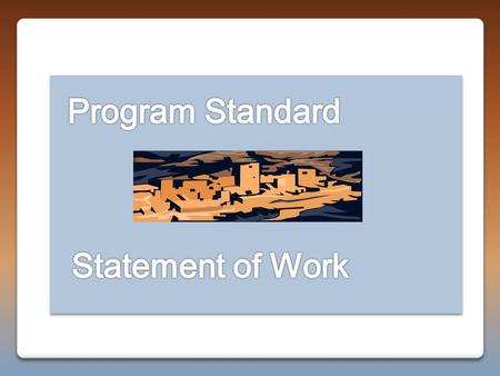 "Program Standard Provides the minimum baseline requirements for the performance of an activity. Establishes the ""WHAT"" that an activity should accomplish."