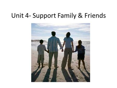 Unit 4- Support Family & Friends. Ch. 13- The Challenge of Change Change process 1.Denial 2.Resistance 3.Acceptance 4.Transition 5.Commitment – Reactions.