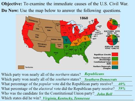 Objective: To examine the immediate causes of the U.S. Civil War. Do Now: Use the map below to answer the following questions. Which party won nearly all.