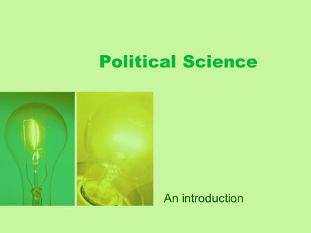 Political Science An introduction.