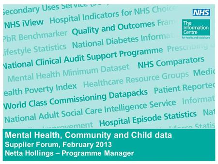 Mental Health, Community and Child data Supplier Forum, February 2013 Netta Hollings – Programme Manager.