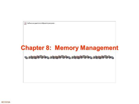 XE33OSA Chapter 8: Memory Management. 8.2XE33OSA Silberschatz, Galvin and Gagne ©2005 Chapter 8: Memory Management Background Swapping Contiguous Allocation.