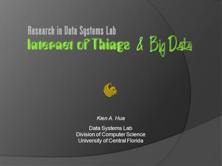 Kien A. Hua Data Systems Lab Division of Computer Science University of Central Florida.