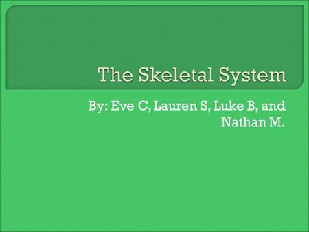 By: Eve C, Lauren S, Luke B, and Nathan M..  The main job of the skeletal system is to provide support or strength for our bodies. Without your skeleton.