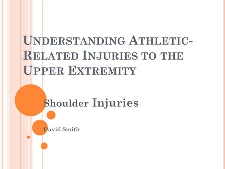 U NDERSTANDING A THLETIC - R ELATED I NJURIES TO THE U PPER E XTREMITY Shoulder Injuries David Smith.
