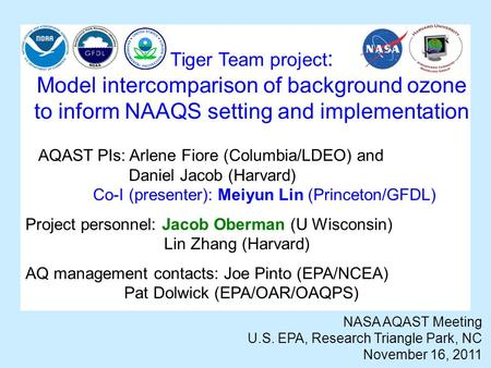 Tiger Team project : Model intercomparison of background ozone to inform NAAQS setting and implementation NASA AQAST Meeting U.S. EPA, Research Triangle.