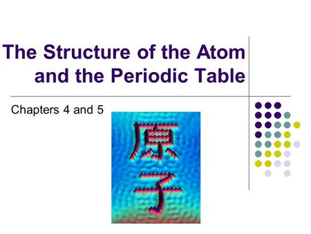 The Structure of the Atom and the Periodic Table Chapters 4 and 5.