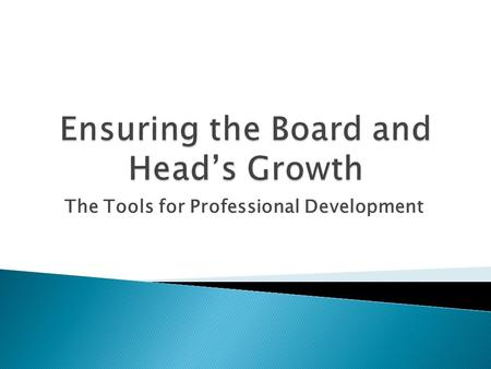 The Tools for Professional Development.  Consider optimal board composition: mix of skills, experience and personalities  Carefully analyze mix of personal.