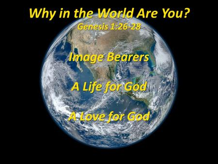 Image Bearers A Life for God A Love for God Why in the World Are You? Genesis 1:26-28.