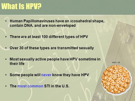 What Is HPV? Human Papillomaviruses have an icosahedral shape, contain DNA, and are non-enveloped There are at least 100 different types of HPV Over 30.
