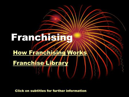 Franchising How Franchising Works Franchise Library Click on subtitles for further information.