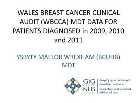 WALES BREAST CANCER CLINICAL AUDIT (WBCCA) MDT DATA FOR PATIENTS DIAGNOSED in 2009, 2010 and 2011 YSBYTY MAELOR WREXHAM (BCUHB) MDT.