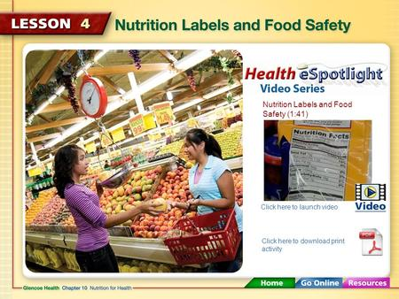 Nutrition Labels and Food Safety (1:41) Click here to launch video Click here to download print activity.