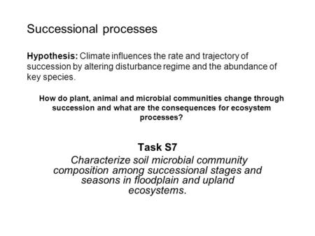 Successional processes Hypothesis: Climate influences the rate and trajectory of succession by altering disturbance regime and the abundance of key species.