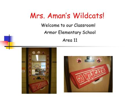 Mrs. Aman's Wildcats! Welcome to our Classroom!