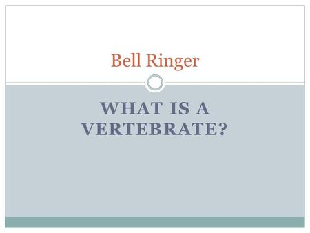 WHAT IS A VERTEBRATE? Bell Ringer. Animal Body Systems.
