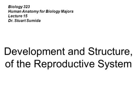Development and Structure, of the Reproductive System