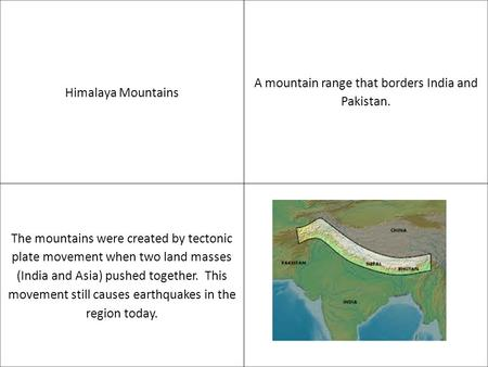 Himalaya Mountains A mountain range that borders India and Pakistan. The mountains were created by tectonic plate movement when two land masses (India.