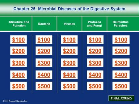 © 2013 Pearson Education, Inc. Chapter 25: Microbial Diseases of the Digestive System $100 $200 $300 $400 $500 $100$100$100 $200 $300 $400 $500 Structure.