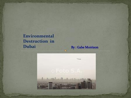 Environmental Destruction in Dubai. Raw Sewage Mixed opinions on water Decreases tourism which is vital to Dubai's Economy Sewage gets illegally dumped.