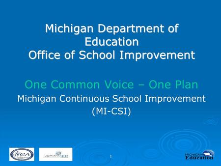Michigan Department of Education Office of School Improvement