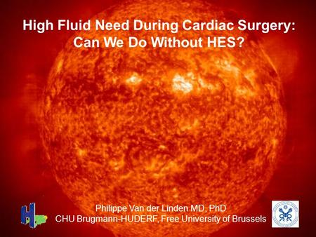 High Fluid Need During Cardiac Surgery: Can We Do Without HES? Philippe Van der Linden MD, PhD CHU Brugmann-HUDERF, Free University of Brussels.