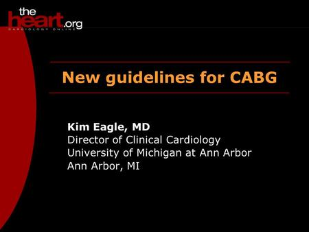 New guidelines for CABG