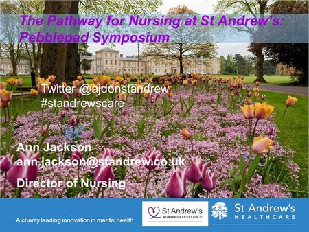 A charity leading innovation in mental health The Pathway for Nursing at St Andrew's: Pebblepad Symposium Ann Jackson Director.