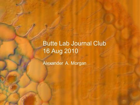 Butte Lab Journal Club 16 Aug 2010 Alexander A. Morgan.