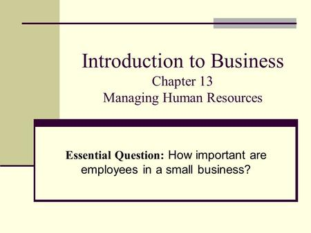 Introduction to Business Chapter 13