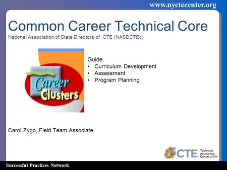 Successful Practices Network www.nyctecenter.org Common Career Technical Core National Association of State Directors of CTE (NASDCTEc) Carol Zygo, Field.