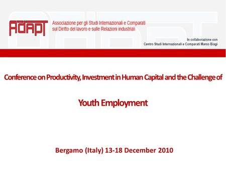 Conference on Productivity, Investment in Human Capital and the Challenge of Youth Employment Bergamo (Italy) 13-18 December 2010.
