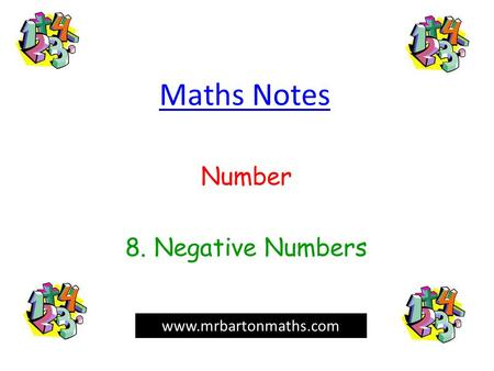 Number 8. Negative Numbers