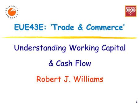 1 EUE43E: 'Trade & Commerce' Understanding Working Capital & Cash Flow Robert J. Williams.