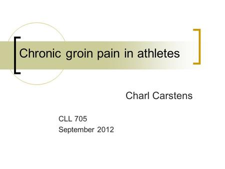 Chronic groin pain in athletes