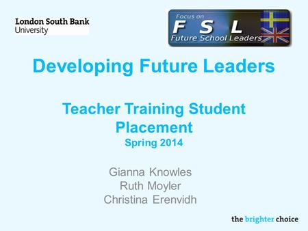 Developing Future Leaders Teacher Training Student Placement Spring 2014 Gianna Knowles Ruth Moyler Christina Erenvidh.